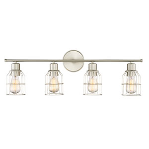 Afton Brushed Nickel Caged Four-Light Industrial Vanity