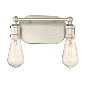 Afton Brushed Nickel Two-Light Industrial Vanity