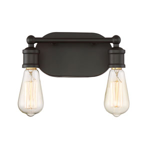Afton Rubbed Bronze Two-Light Industrial Vanity