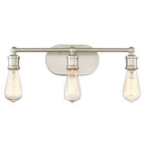 Afton Brushed Nickel Three-Light Industrial Vanity