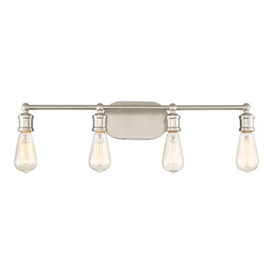 Afton Brushed Nickel Four-Light Industrial Vanity