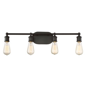 Afton Rubbed Bronze Four-Light Industrial Vanity