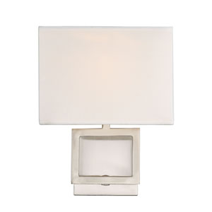 Uptown Brushed Nickel One-Light Wall Sconce with Square White Fabric Shade