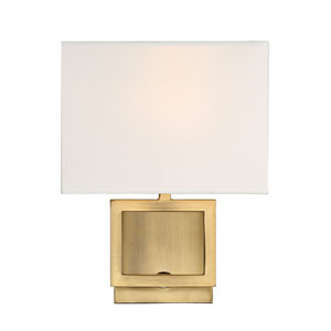 Uptown Natural Brass One-Light Wall Sconce with Square White Fabric Shade