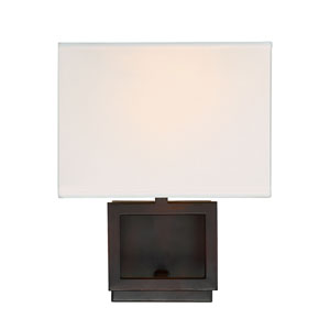Uptown Rubbed Bronze One-Light Wall Sconce with Square White Fabric Shade
