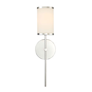 Nicollet Chrome One-Light Wall Sconce with Etched Opal Glass Shade