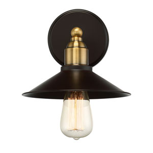 River Station Rubbed Bronze and Brass One-Light Industrial Wall Sconce