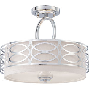 Isles Polished Nickel Three-Light Drum Semi-Flush Mount with Gray Fabric Shade