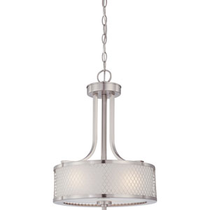 Nicollet Brushed Nickel Three-Light Drum Pendant with Frosted Glass Shade