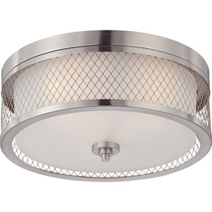 Nicollet Brushed Nickel Three-Light Drum Flush Mount with Frosted Glass Shade