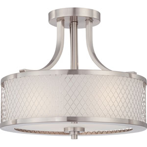 Nicollet Brushed Nickel Three-Light Drum Semi-Flush Mount with Frosted Glass Shade