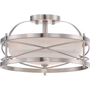 Isles Brushed Nickel Two-Light Drum Semi-Flush Mount with Etched Opal Glass Shade