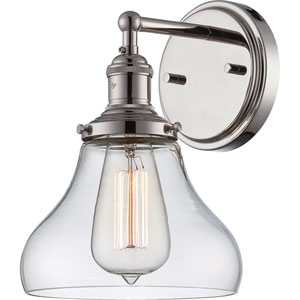 Grace Polished Nickel One-Light Bath Sconce with Bell Shaped Clear Glass Shade