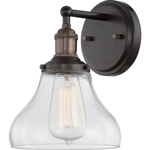 Grace Bronze One-Light Bath Sconce with Bell Shaped Clear Glass Shade
