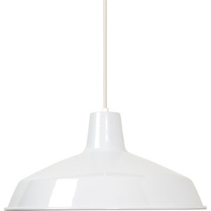 Hayden White One-Light Pendant with Warehouse Shade