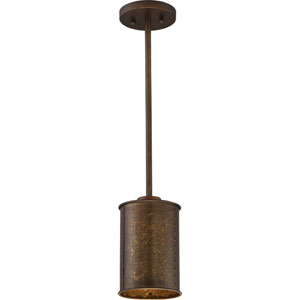 River Station Weathered Brass One-Light Industrial Mini-Pendant