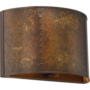 River Station Weathered Brass One-Light Industrial Bath Sconce