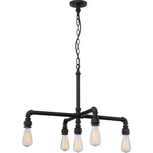 Fulton Bronze Five-Light Industrial Chandelier