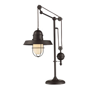 River Station Rubbed Bronze Pulley Adjustable Height Table Lamp