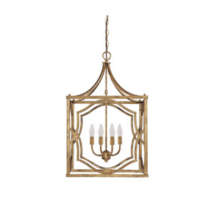 Linden Antique Gold Four-Light Lantern Pendant