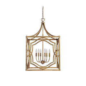Linden Antique Gold Six-Light Lantern Pendant