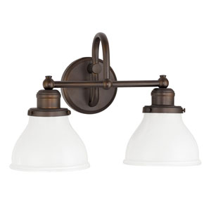 Grace Burnished Bronze Two-Light Bath Vanity with Milk Glass Shade