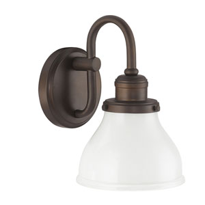 Grace Burnished Bronze One-Light Bath Sconce with Milk Glass Shade