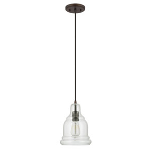 Grace Bronze One-Light Mini-Pendant with Clear Glass