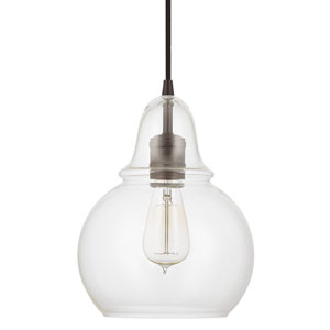 Grace Bronze One-Light Dome Mini-Pendant with Clear Glass