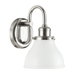 Grace Polished Nickel One-Light Bath Sconce with Milk Glass Shade