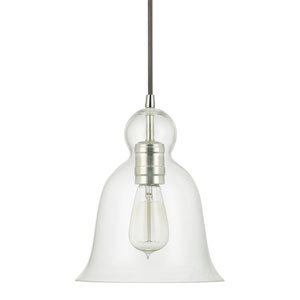 Grace Polished Nickel One-Light Bell Shaped Mini-Pendant with Clear Glass