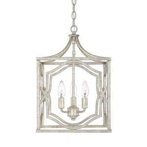 Linden Antique Silver Three-Light Lantern Pendant