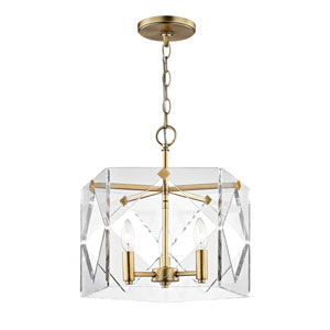 Vivian Aged Brass Three-Light Pendant