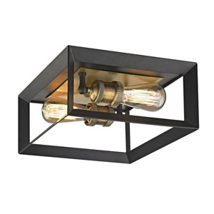 Uptown Matte Black and Antique Brass Socket Two-Light Flush Mount