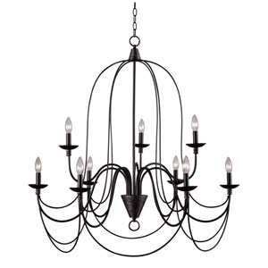 Aster Oil Rubbed Bronze Nine-Light Chandelier