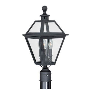 Bryant Textured Black Three-Light Outdoor Post Light