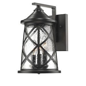 Eloise Powder Coat Black Three-Light Outdoor Wall Mount