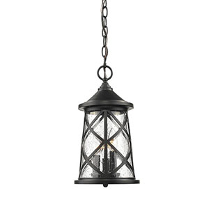 Eloise Powder Coat Black Three-Light Outdoor Pendant