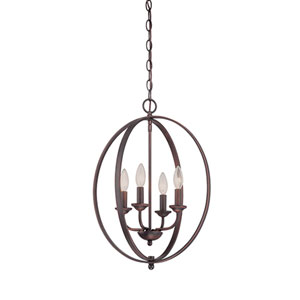 Anna Rubbed Bronze Four-Light Pendant