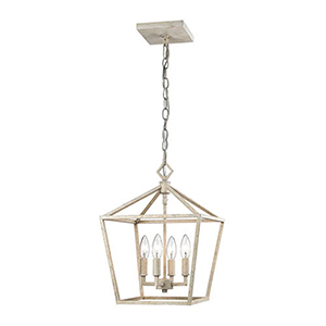 Kenwood Vintage White 12-Inch Four-Light Pendant