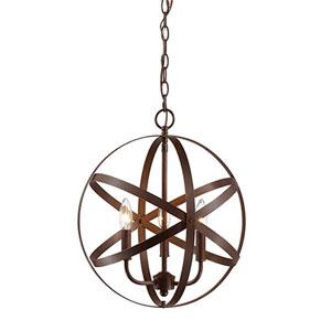 Elle Rubbed Bronze Three-Light Pendant