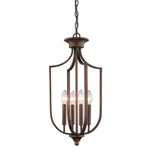 Isles Rubbed Bronze 12-Inch Four-Light Pendant