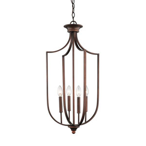 Isles Rubbed Bronze 16-Inch Four-Light Pendant
