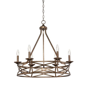 Hazel Vintage Gold Six-Light Chandelier