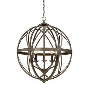 Hazel Antique Silver Five-Light Pendant