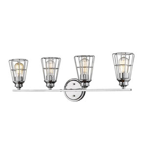 Ash Chrome Four-Light Bath Vanity