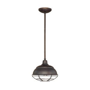 Revolution Rubbed Bronze 10-Inch One-Light Outdoor Pendant