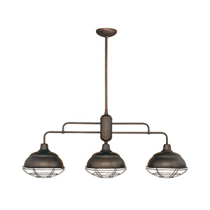 Revolution Rubbed Bronze Three-Light Outdoor Pendant