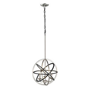 Essex Matte Black and Brushed Nickel Three-Light Pendant