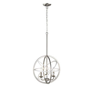 Essex White and Brushed Nickel Three-Light Pendant